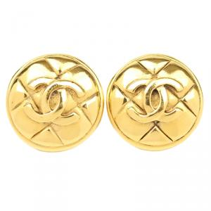 Chanel Vintage CC Gold Tone Clip-On Earrings