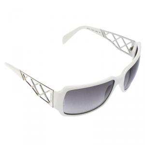 Chanel White 5074-B Crystal Embellished Rectangular Sunglasses