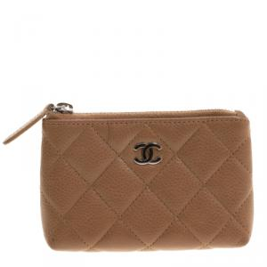 Chanel Brown Quilted Caviar Leather CC Key Holder