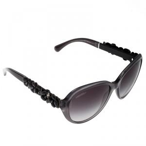 Chanel Grey/Purple Grey Gradient 5316Q Leather Camellia Cat Eye Sunglasses