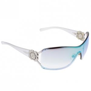 Chanel Vintage Silver Camelia Shield Sunglasses