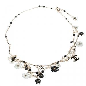 Chanel CC Enamel Faux Pearl & Bead Charm Gold Tone Belt / Necklace
