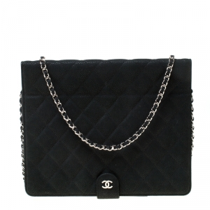 Chanel Black Quilted Nubuck Leather Crossbody iPad Case
