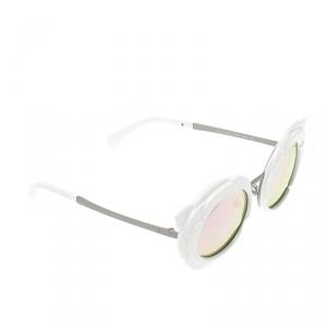 Chanel White/Black Pink Mirrored 71198 L7631 Camellia Runway Round Sunglasses