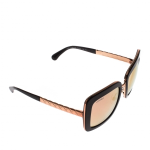 Chanel Black/Rose Gold Mirrored 5369 Square Sunglasses