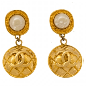 Chanel Faux Pearl Quilted Gold Tone Drop Earrings