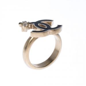 Chanel CC Black Enamel Gold Tone Clover Ring Size 51