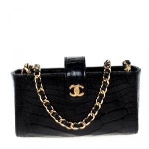 Chanel Black Crocodile iPhone Chain Pouch