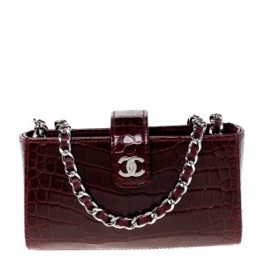 Chanel Red Crocodile iPhone Chain Pouch