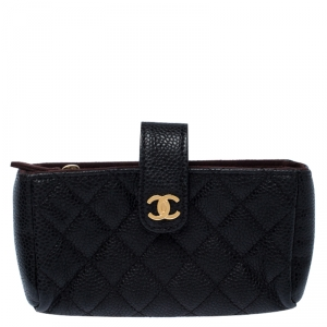 Chanel Black Quilted Leather iPhone Pouch