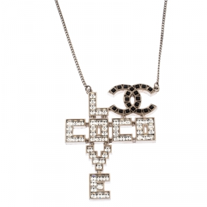 Chanel Silver Tone Crystal Embellished Love Coco Necklace