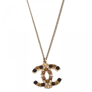 Chanel CC Crystal and Gripoix Pendant Gold Tone Necklace