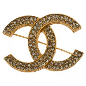 Chanel Vintage Classic CC Logo Crystal Embellished Gold Tone Brooch