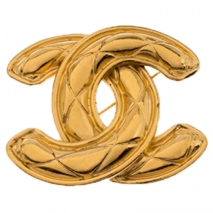 Chanel Vintage CC Logo Quilted Gold Tone Brooch