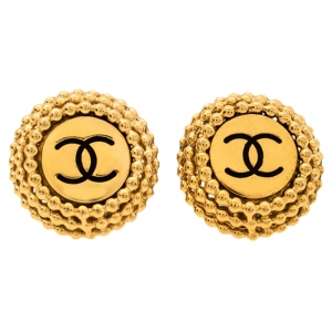 Chanel Vintage Textured CC Gold Tone Round Clip On Stud Earrings