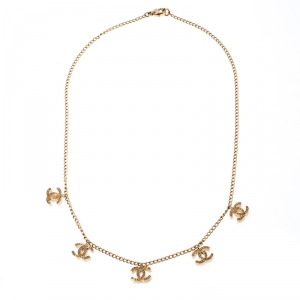 Chanel CC Logo Charm Gold Tone Necklace