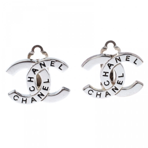 Chanel CC Logo Silver Tone Clip On Stud Earrings