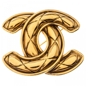 Chanel CC Gold Tone Quilted Pin Brooch
