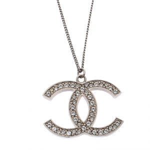 Chanel Silver Tone Crystal CC Pendant Necklace
