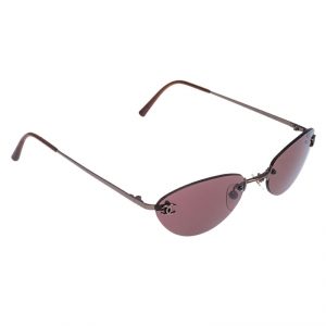 Chanel Gold Tone/Burgundy 4003 Rimless Oval Sunglasses