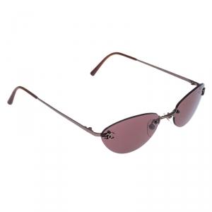 نظارة شمسية شانيل 4003 بلا حواف ذهبية / عنابية بيضاوية