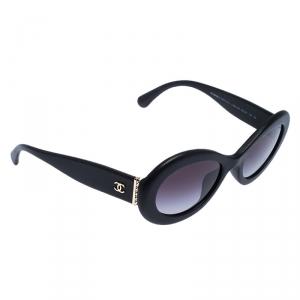 نظارة شمسية شانيل 5404Q جلد متدرجة رصاصية / سوداء بيضاوية