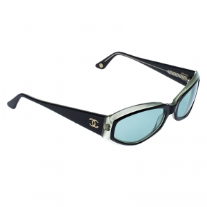 Chanel Black/Green 5021 Oval Sunglasses