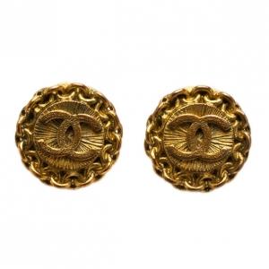 Chanel Vintage CC Gold-Tone Earrings
