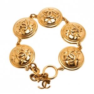 Chanel Coco Medals Vintage Gold-Plated Bracelet 23CM
