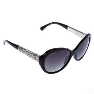 نظارة شمسية شانيل بيضاوية بلولرايزد 5290-B مزخرفة كريستال بنية محمرة