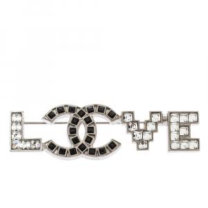Chanel CC Love Crystal Silver Tone Pin Brooch