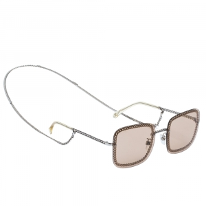 Chanel Silver/Light Brown Clear 4244 Square Sunglasses