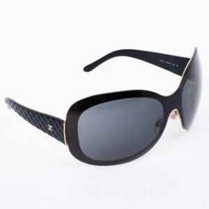 Chanel Black Quilted Oval Sunglasses