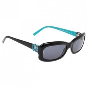 Chanel 5127 Black and Blue Frame Camellia Flower CC Logo Women Sunglasses