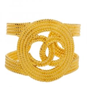 Chanel Vintage Gold Tone Open Cuff Bracelet
