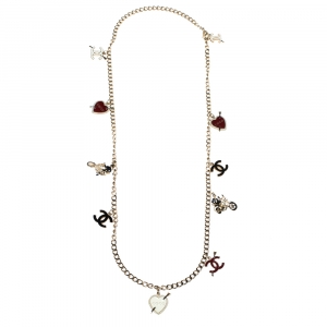 Chanel Gold Tone Iconic Charms Necklace