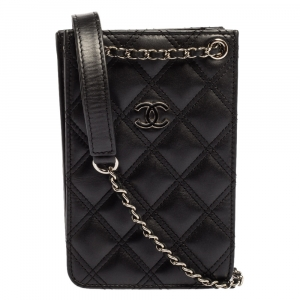Chanel Black Quilted Leather Crossbody Phone Holder