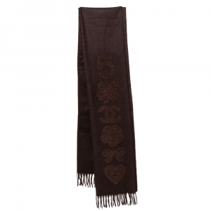 Chanel Brown Cashmere Multi Icon Embroidered Stole