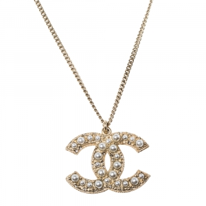 Chanel 100 Anniversary CC Faux Pearl Crystal Gold Tone Pendant Necklace