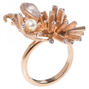 Chanel CC Starburst Crystals & Faux Pearl Rose Gold Tone Ring Size 52.5