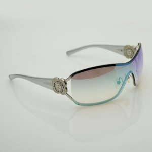 Chanel Vintage Camelia Shield Silver Sunglasses