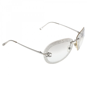 Chanel Silver/Clear 4049B Crystal Embellished Aviator Sunglasses