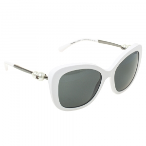 Chanel White Pearl Embellished 5339H Square Sunglasses