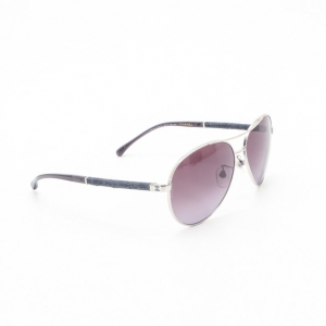 Chanel Silver and Denim Aviator Sunglasses