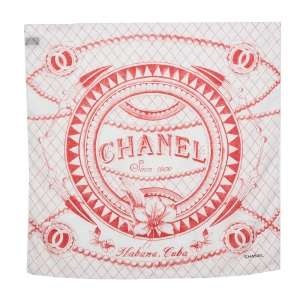 Chanel White & Red Cuba Cotton Scarf