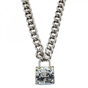 Chanel CC Bejeweled Clear Padlock Curb Chain Necklace