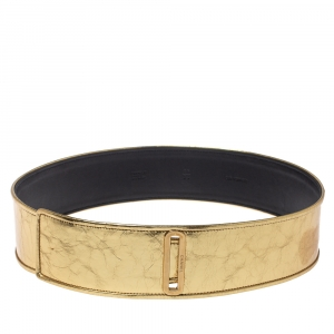 Chanel Metallic Gold Distressed Leather Waist Belt 85CM