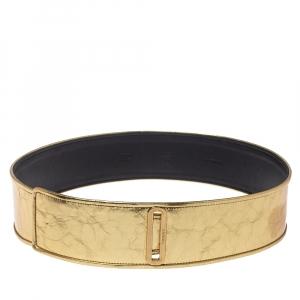 Chanel Metallic Gold Distressed Leather Waist Belt 85CM