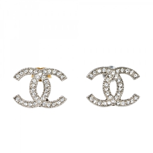 Chanel CC Silver Tone Crystal Stud Earrings