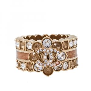 Chanel CC Floral Motif Enamel Band Ring Size EU 55
